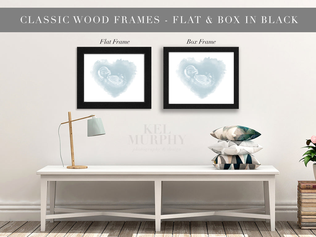 Classic Wood Frames for embryo and ultrasound watercolor art prints home decor