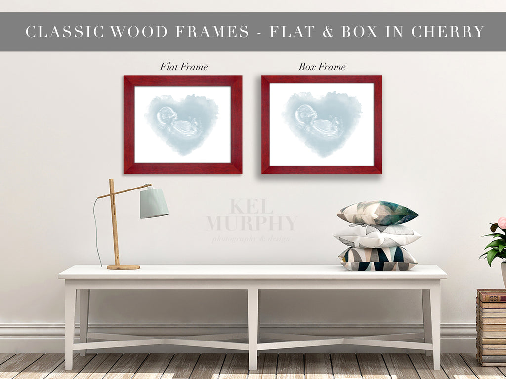 Classic Wood Frames for embryo and ultrasound watercolor art prints nursery wall decor