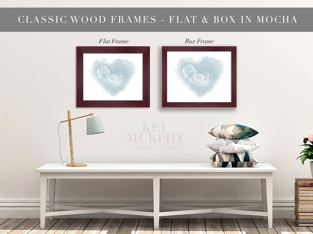 Classic Wood Frames for embryo and ultrasound watercolor art prints living room walls