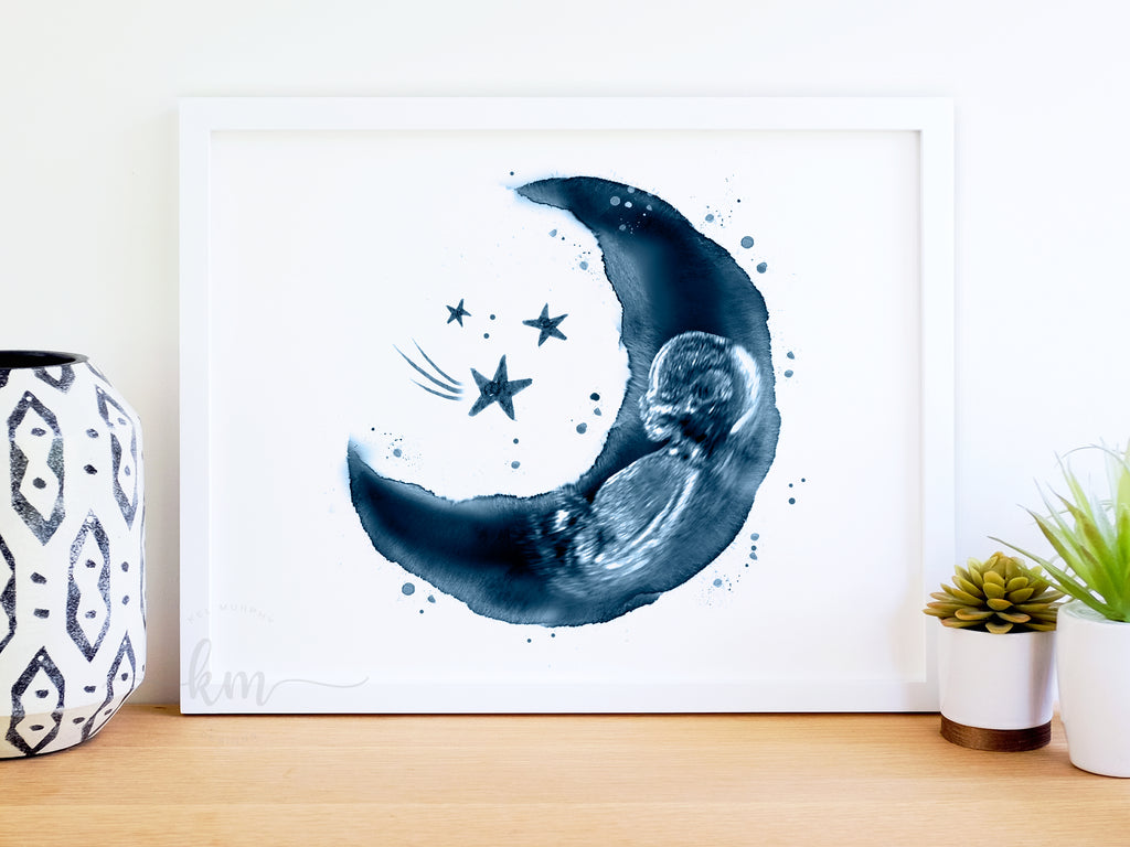 Moon and Stars watercolor with baby ultrasound blue cyanotype new mom gift
