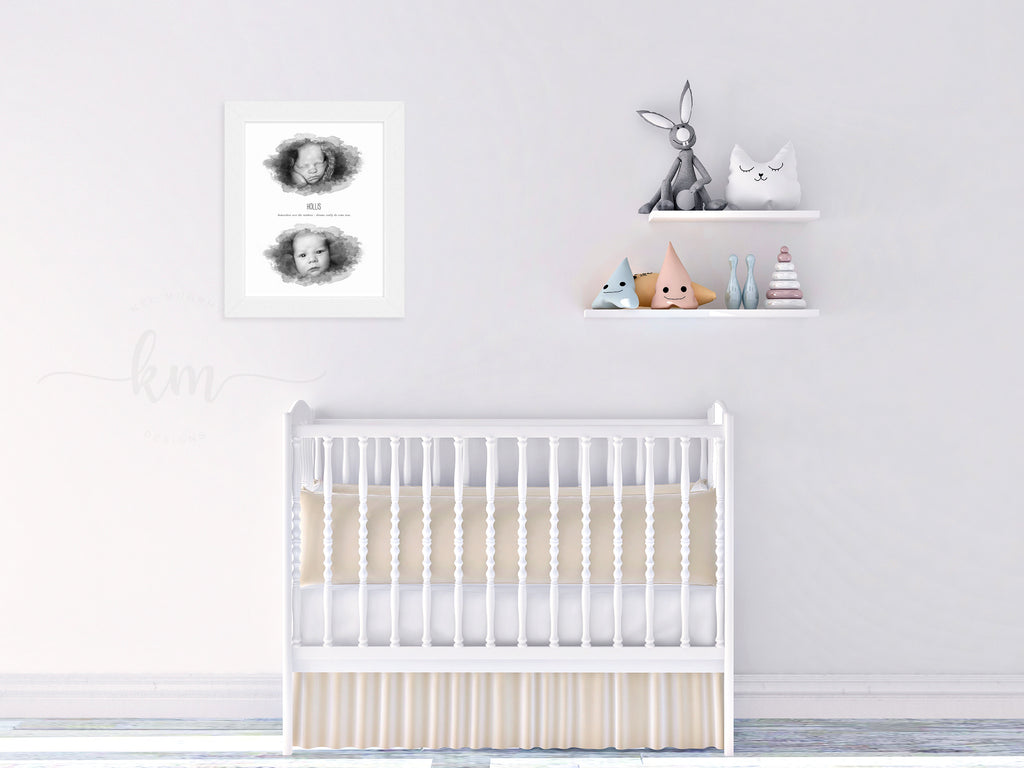 Watercolor ultrasound art and newborn image in a classic white wood frame