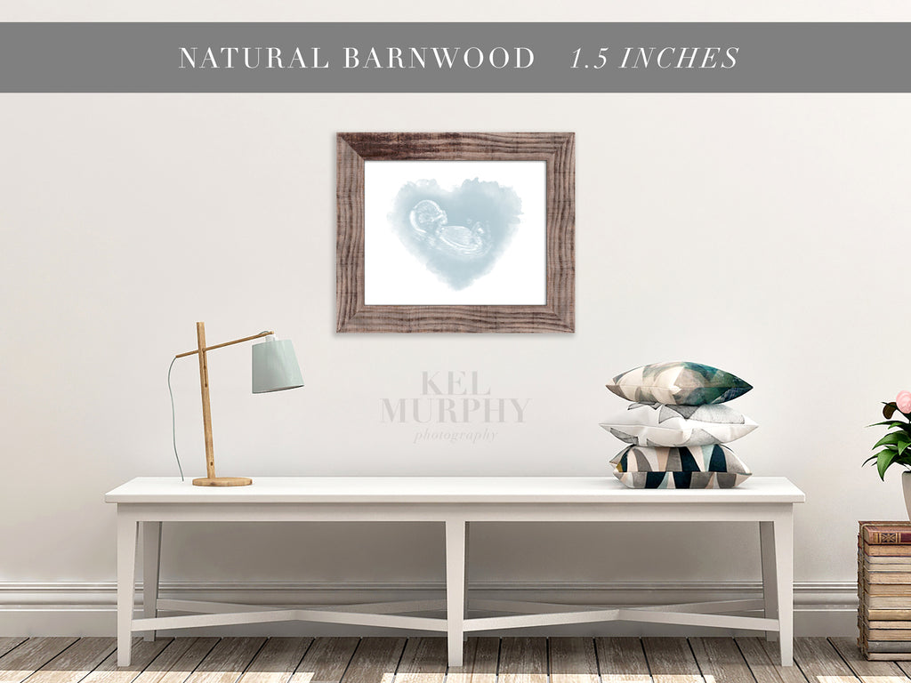 Natural Barnwood Frames for ultrasound and embryo watercolor art prints home decor