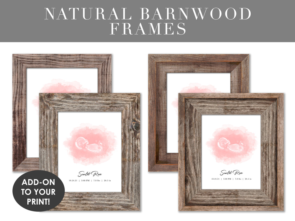 Natural Barnwood Frames for ultrasound and embryo watercolor art prints pregnancy gifts