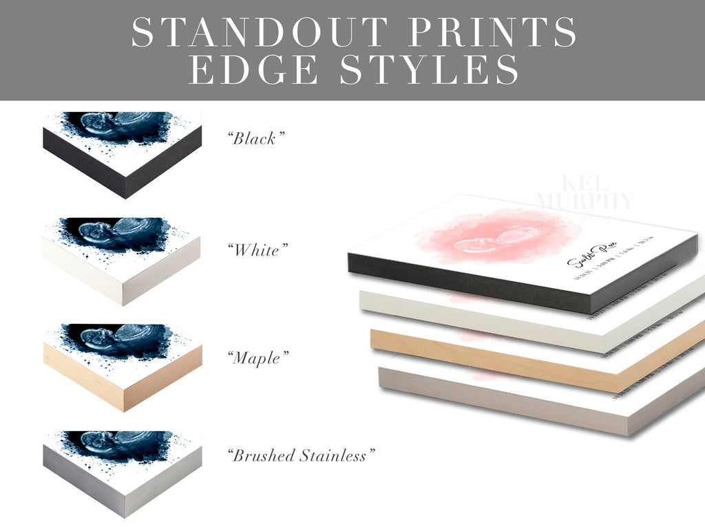 Standout prints for custom sonogram ultrasound and embryo wall art edge styles