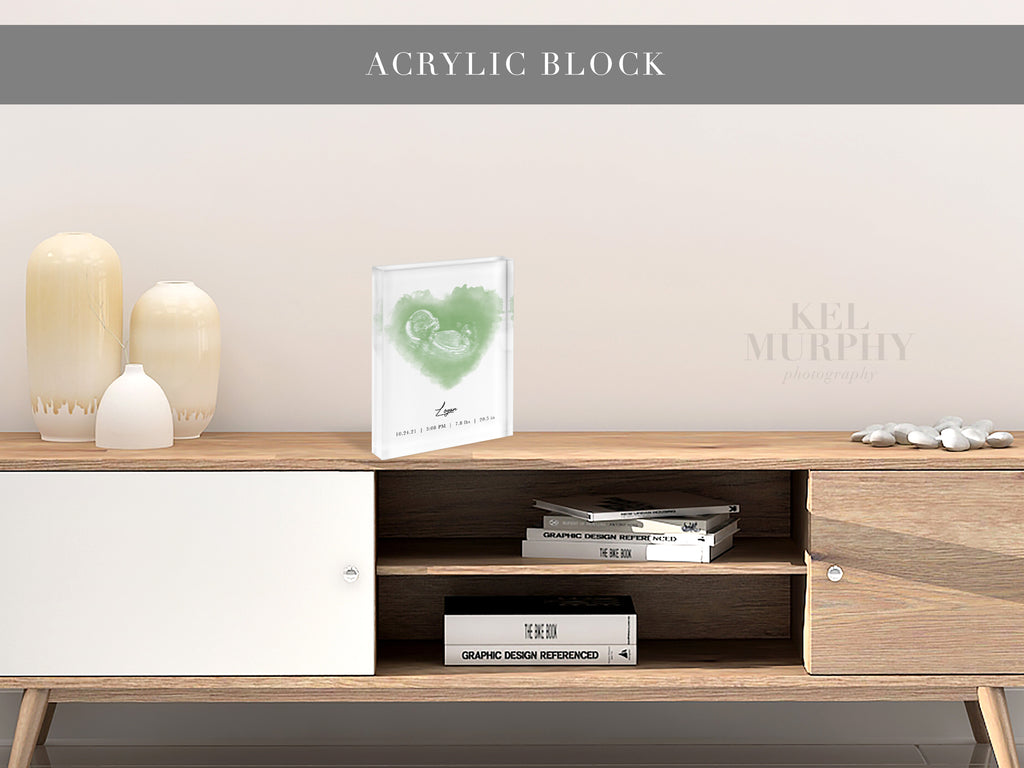 Acrylic Block with a vertical ultrasound heart design on tan table