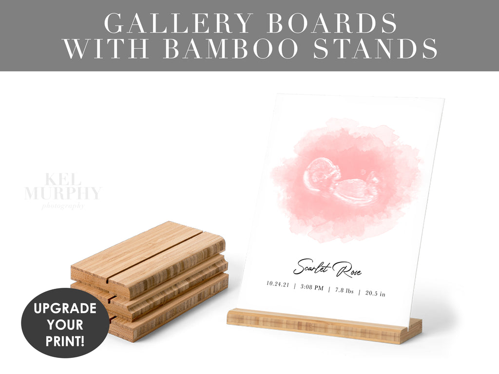 Custom Gallery Boards with Bamboo Stands upgrade your personalized ultrasound and embryo watercolor art print