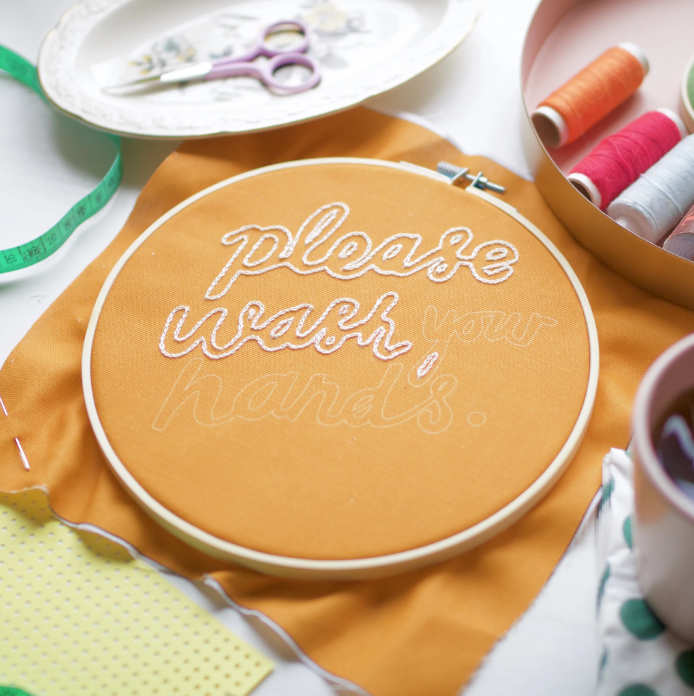 Please Wash Your Hands Embroidery Kit