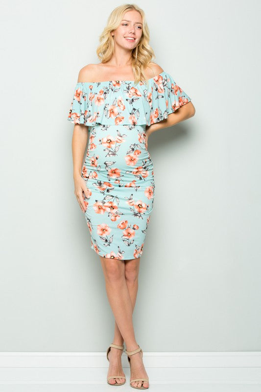 Maternity Off Shoulder Floral Dress
