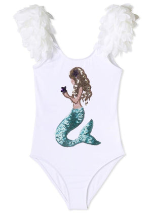 Stove Cove White Bathing Suit with Mermaid and Petals for Girls