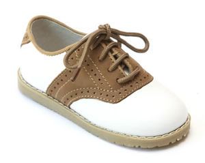 L'aMour Leather Shoes Style 042 White and Khaki