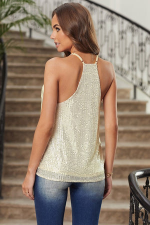 Sequin Tank Top-Champagne