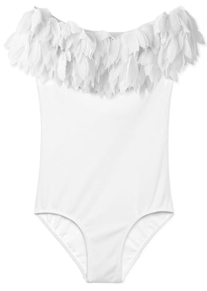Stella Cove White Bathing Suit for Girls with Petals