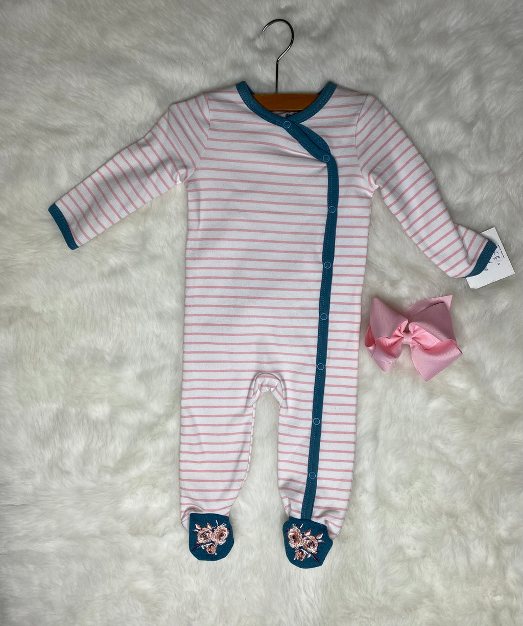 Asher and Olivia Striped Footie