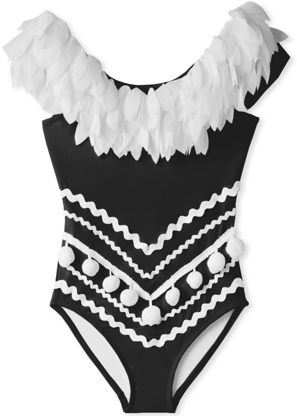 Stella Cove Black Draped Swimsuit with Petals & Pom Poms For Girls