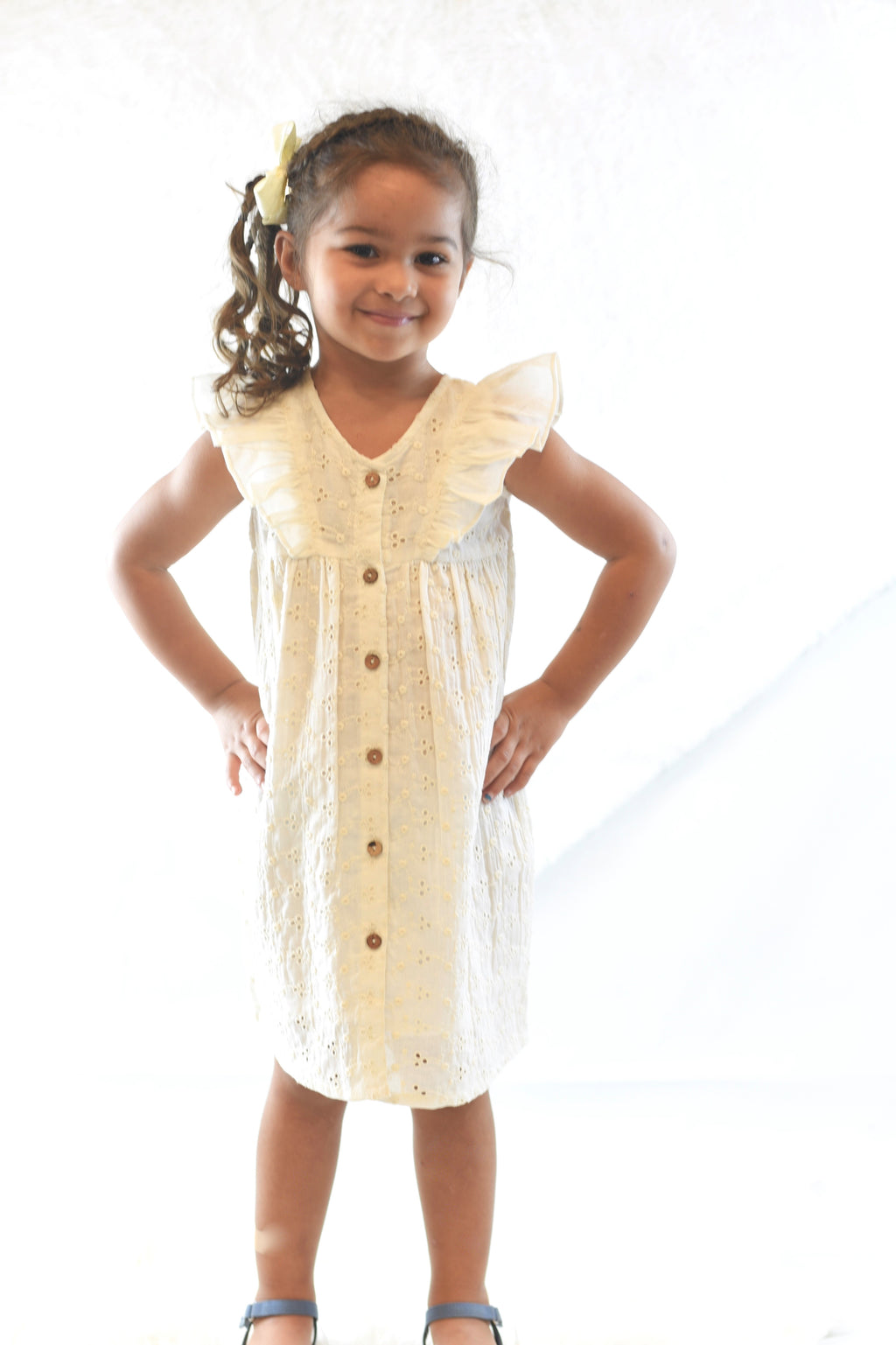 YoBaby Ivory All Over Eyelet Dress
