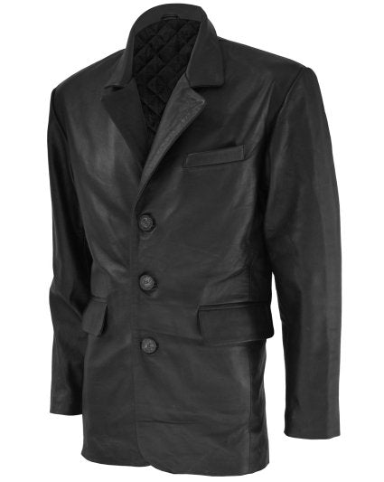 3 Button Men Timeless Leather Coat