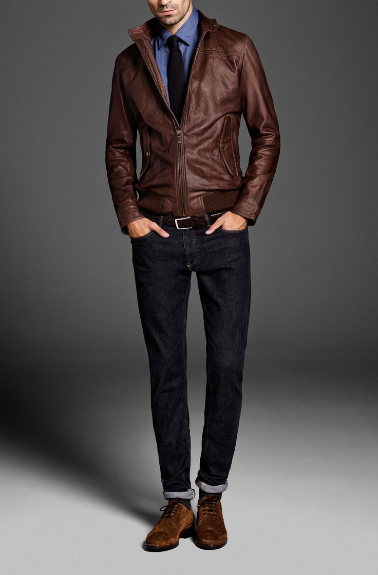 Brown Leather Shirt For a Formal look