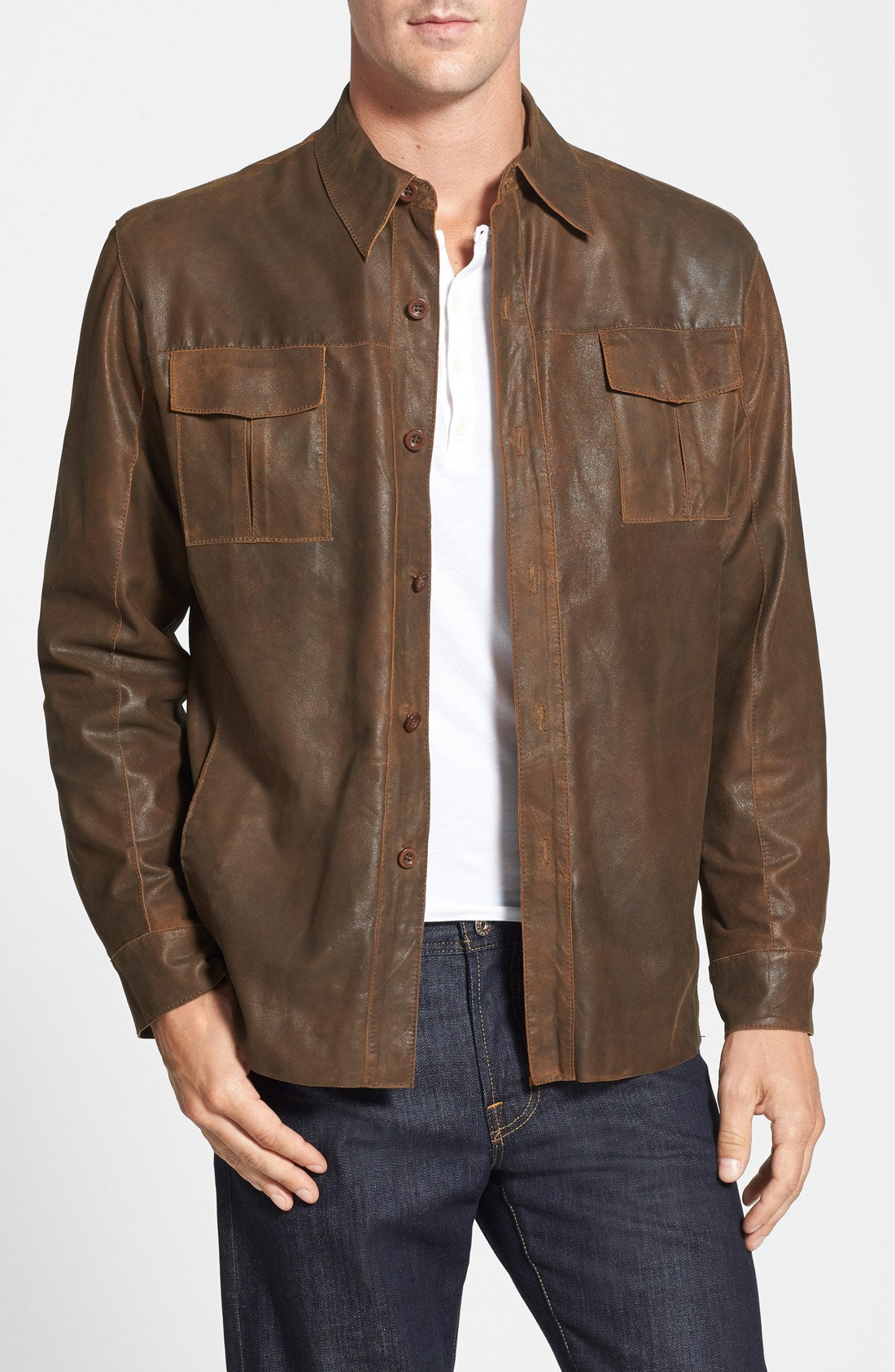 Brown Leather Shirt For a casual look