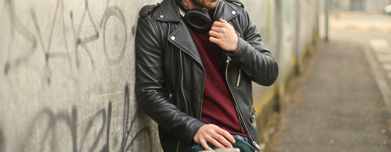 Casual: A Pair Of Jeans, A T-shirt And A Leather Jacket