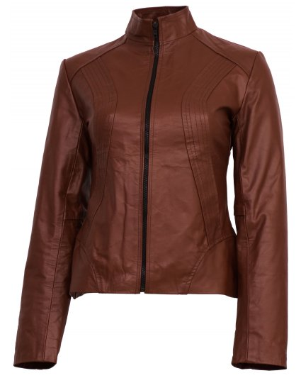Classic Tan Brown Leather Jacket for Women