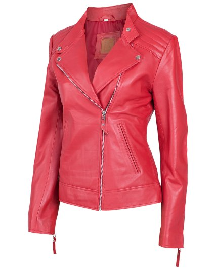 Women's Red Moto Leather Jacket