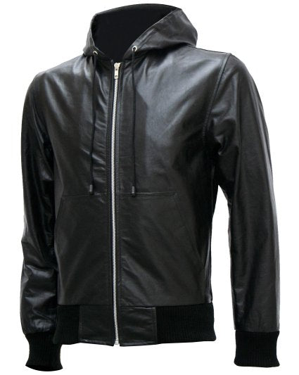 Exclusive Men's Black Bomber Leather Jacket with Hoodie