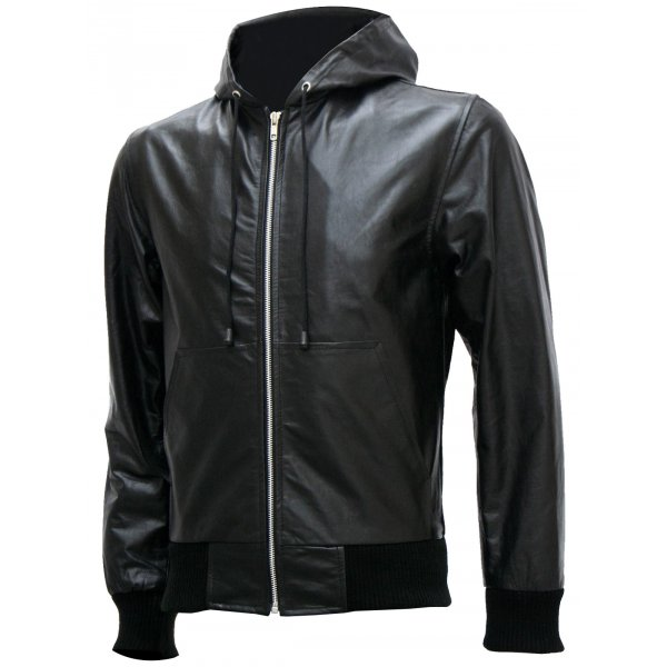 Bomber Leather Jacket with Hoodie