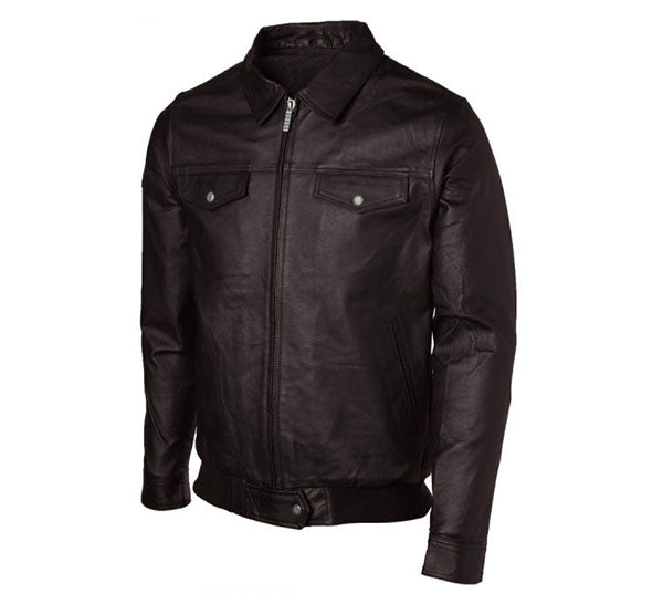 Bomber Jacket with Simple Folded Collar