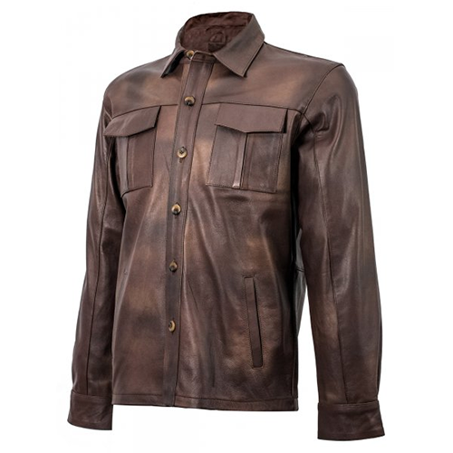 Brown Leather Shirt for Men