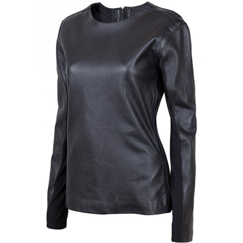 Black Leather Shirt for Women