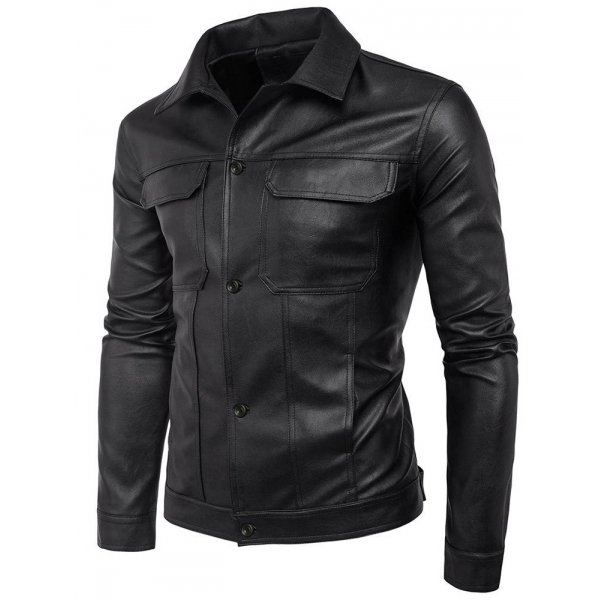 Folded Collar Cowhide Leather Jacket