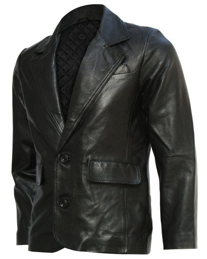 Mission Impossible Black Leather Blazer Coat