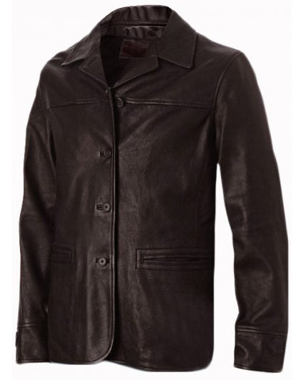 Four Button Brown Leather Coat