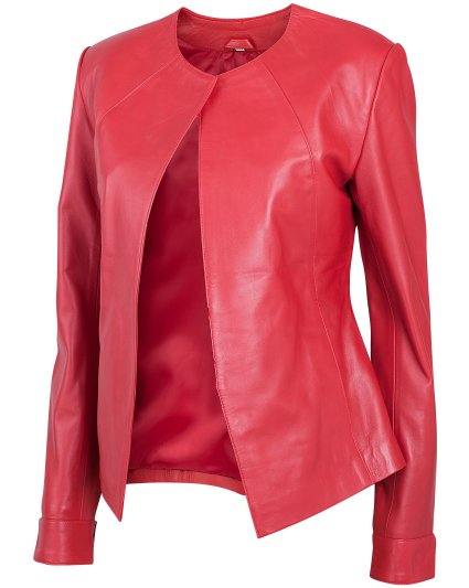 Collarless Red Leather Jacket
