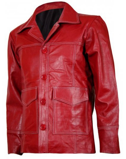 Fight Club Red Biker Leather Jacket