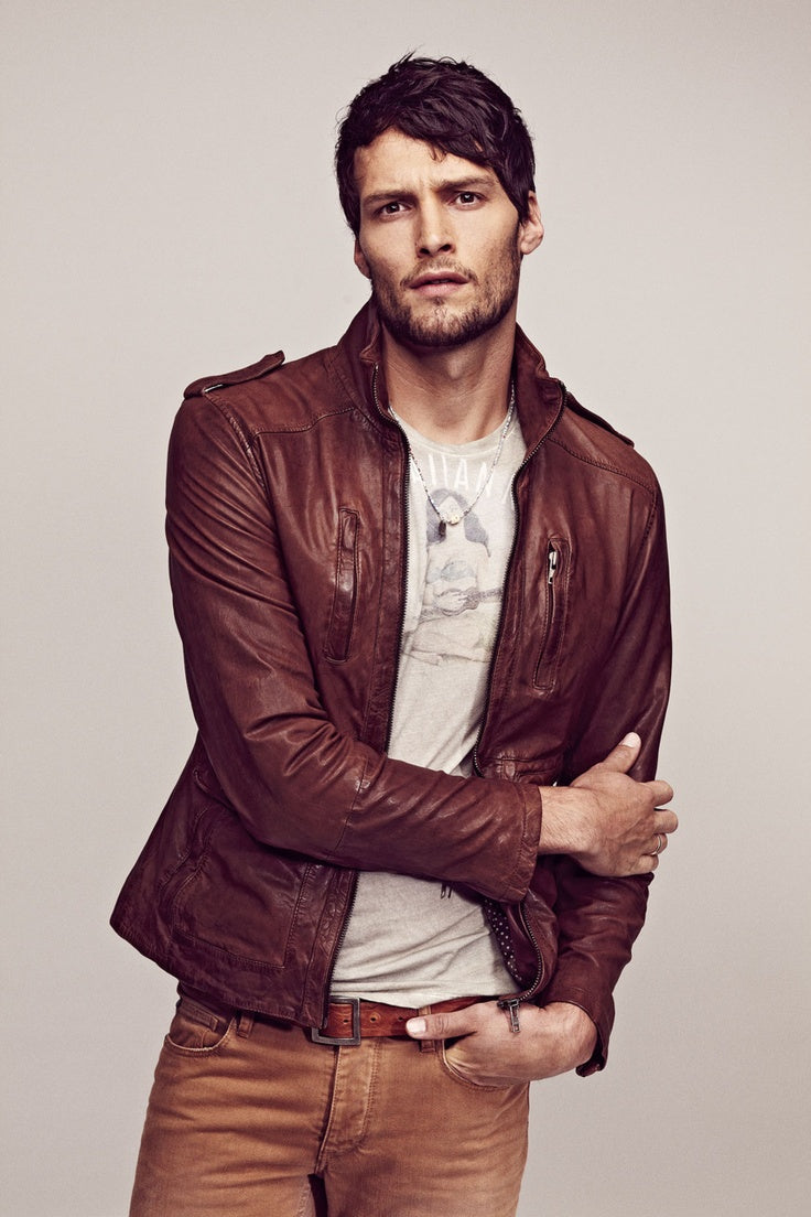 Brown leather shirt For a rugged look: