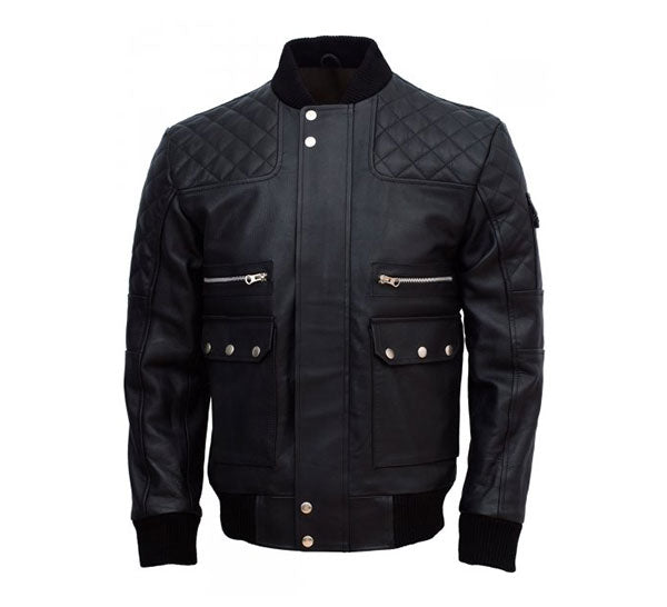 Traditional Bomber Jacket with Multiple Pockets