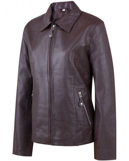 Women Chocolate Brown Leather Jacket