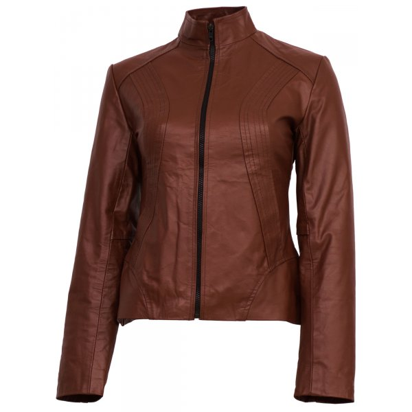 Classic Tan Brown Leather Biker  Jacket for Women