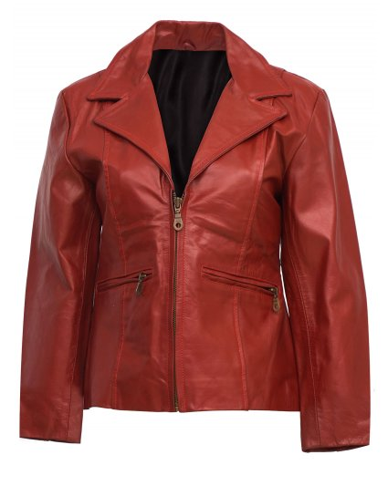 Women Red Leather Coat with Zip