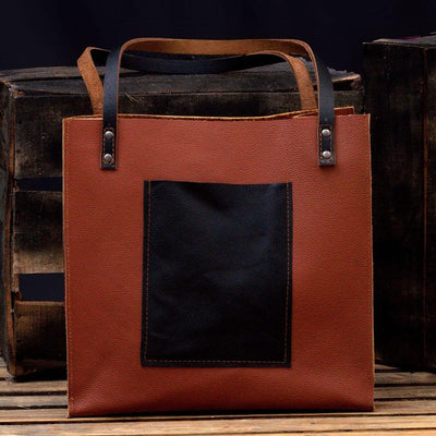 MONT5 Marala Handcrafted Brown Leather Tote - Leather Jacket Shop