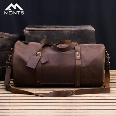 MONT5 Shangrila Dark Brown Carry On Weekender Travel Duffle - Leather Jacket Shop