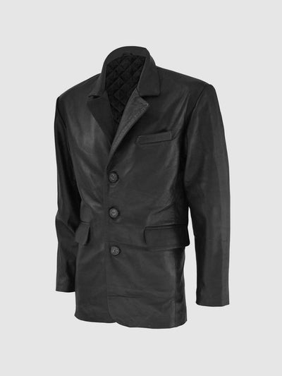3 Button Men Timeless Leather Coat - Leather Jacket Shop