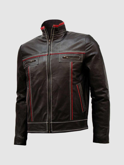 Bi-Color Unique White Stitched Men's Moto Leather Jacket - Leather Jacket Shop