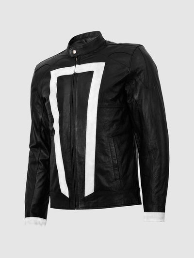 Black and White Leather Motorcycle Jacket - Leather Jacket Shop