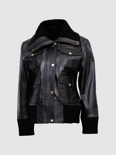 Black Bomber Jacket for Women - Leather Jacket Shop