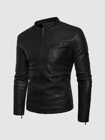 Black Leather Jacket with Small Collar - Leather Jacket Shop