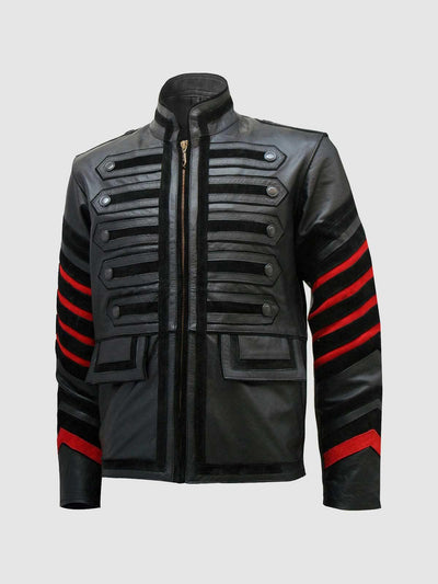 Black Military Men's Fitted Leather Jacket - Leather Jacket Shop