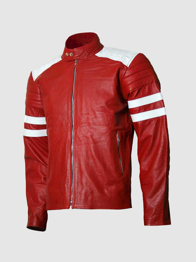 Brad Pitt FC Fight Club Red Leather Jacket - Leather Jacket Shop