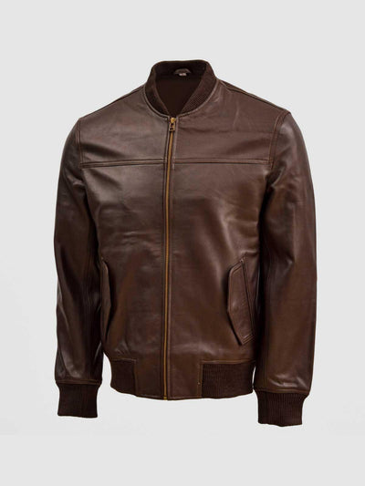 Brown Leather Bomber Sheep Jacket - Leather Jacket Shop